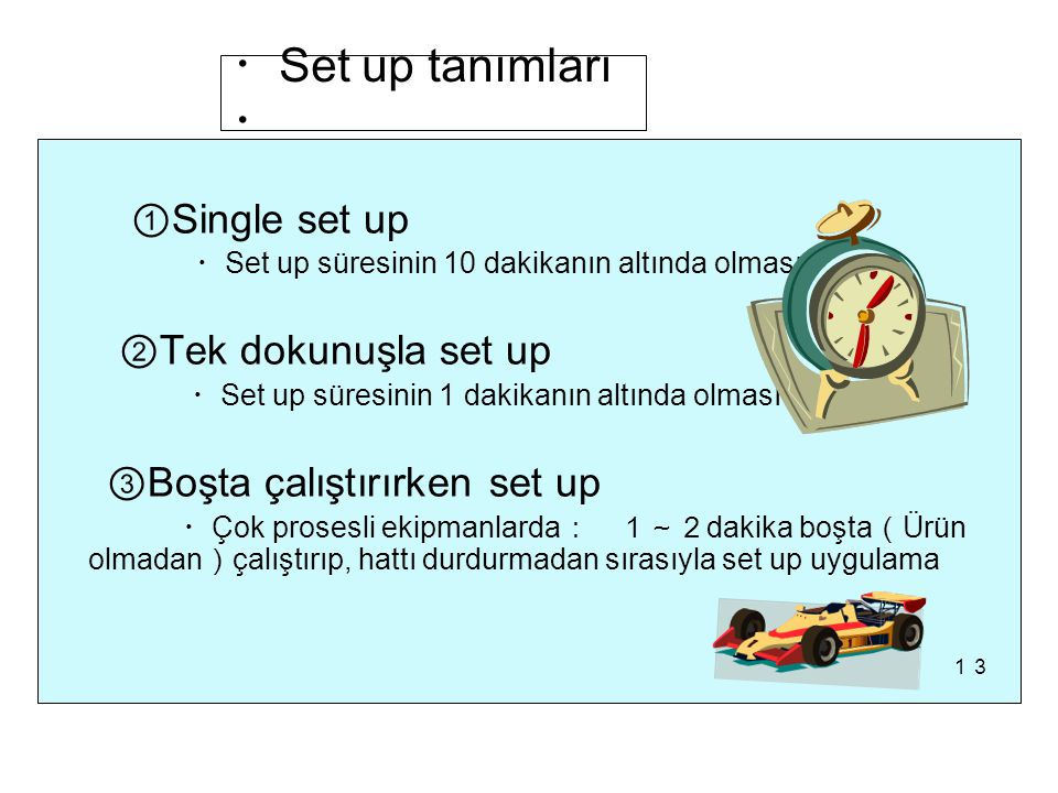 ・Set up tanımları・ ①Single set up