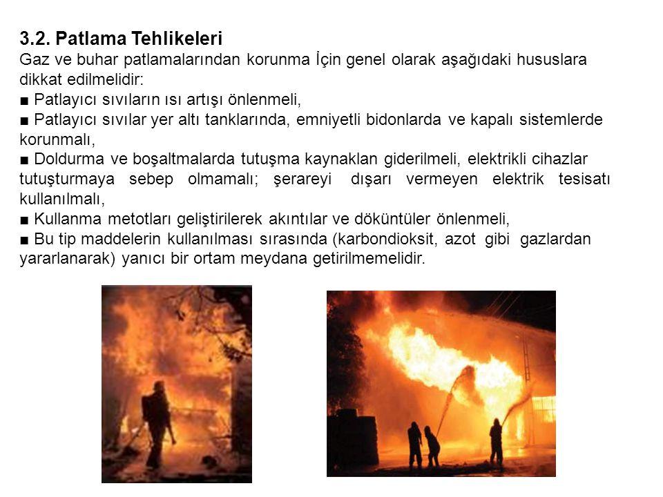 3.2. Patlama Tehlikeleri Gaz ve buhar patlamalarından korunma İçin genel olarak aşağıdaki hususlara dikkat edilmelidir: