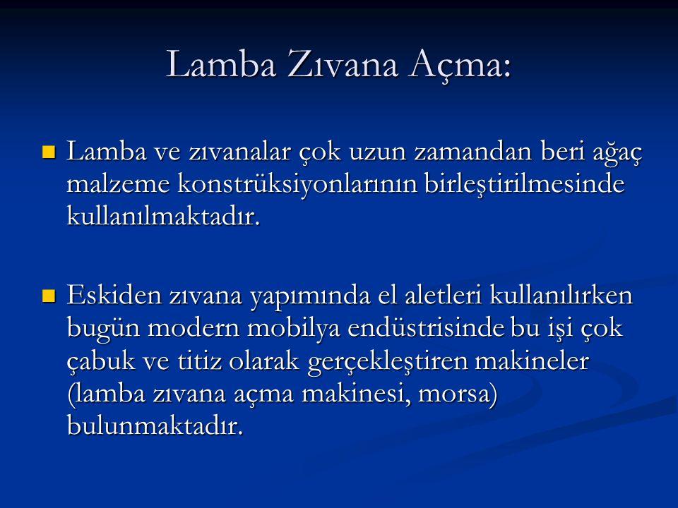 Lamba Zıvana Açma: Lamba ve zıvanalar çok uzun zamandan beri ağaç malzeme konstrüksiyonlarının birleştirilmesinde kullanılmaktadır.