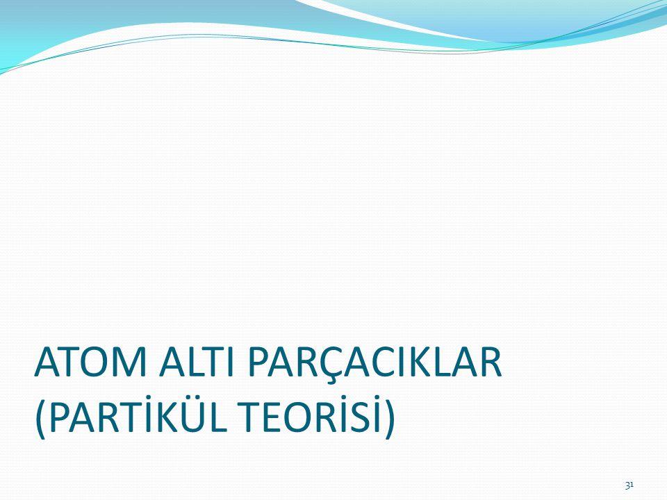 ATOM ALTI PARÇACIKLAR (PARTİKÜL TEORİSİ)
