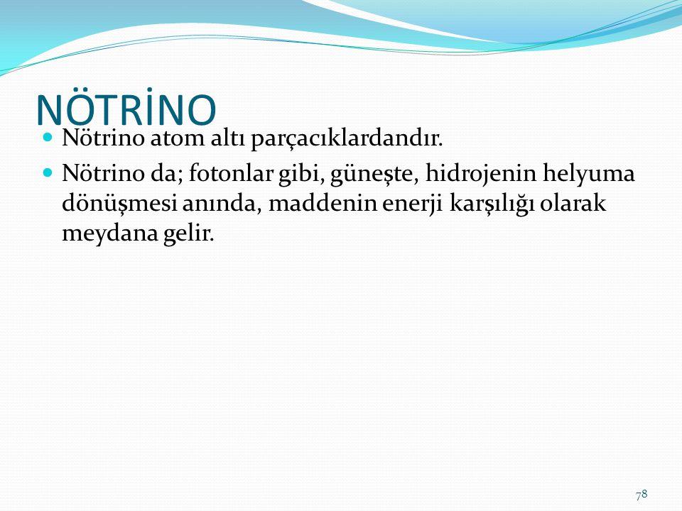 NÖTRİNO Nötrino atom altı parçacıklardandır.