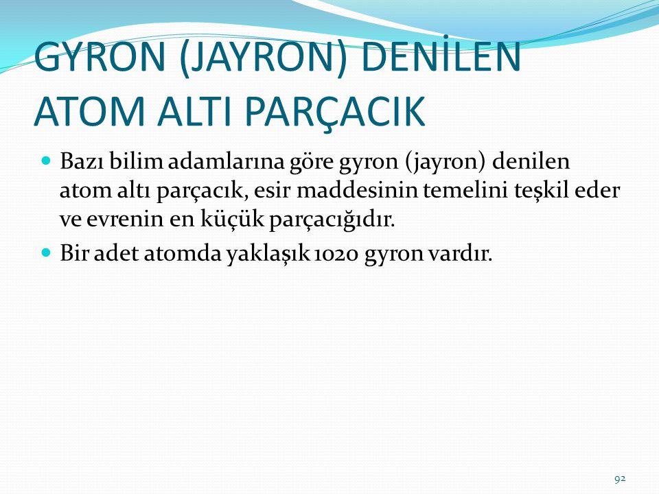 GYRON (JAYRON) DENİLEN ATOM ALTI PARÇACIK