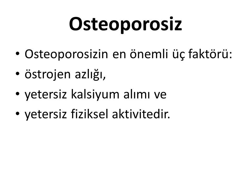 Osteoporosiz Osteoporosizin en önemli üç faktörü: östrojen azlığı,