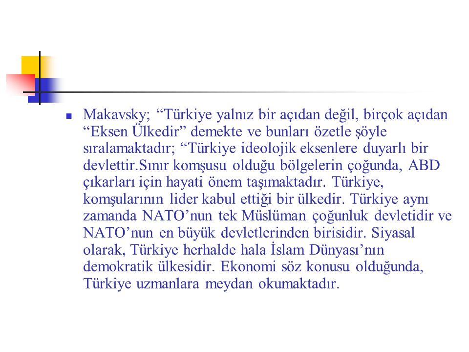Makavsky; Türkiye yalnız bir açıdan değil, birçok açıdan Eksen Ülkedir demekte ve bunları özetle şöyle sıralamaktadır; Türkiye ideolojik eksenlere duyarlı bir devlettir.Sınır komşusu olduğu bölgelerin çoğunda, ABD çıkarları için hayati önem taşımaktadır.