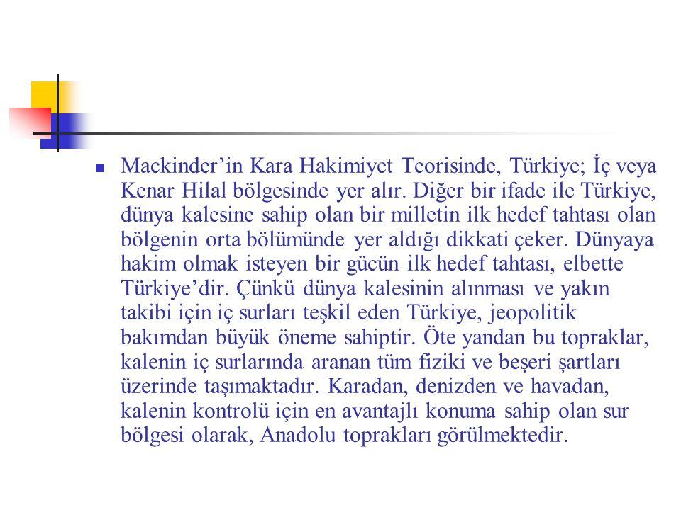 Mackinder'in Kara Hakimiyet Teorisinde, Türkiye; İç veya Kenar Hilal bölgesinde yer alır.