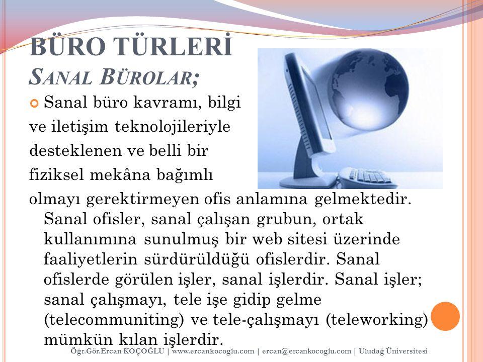 BÜRO TÜRLERİ Sanal Bürolar;