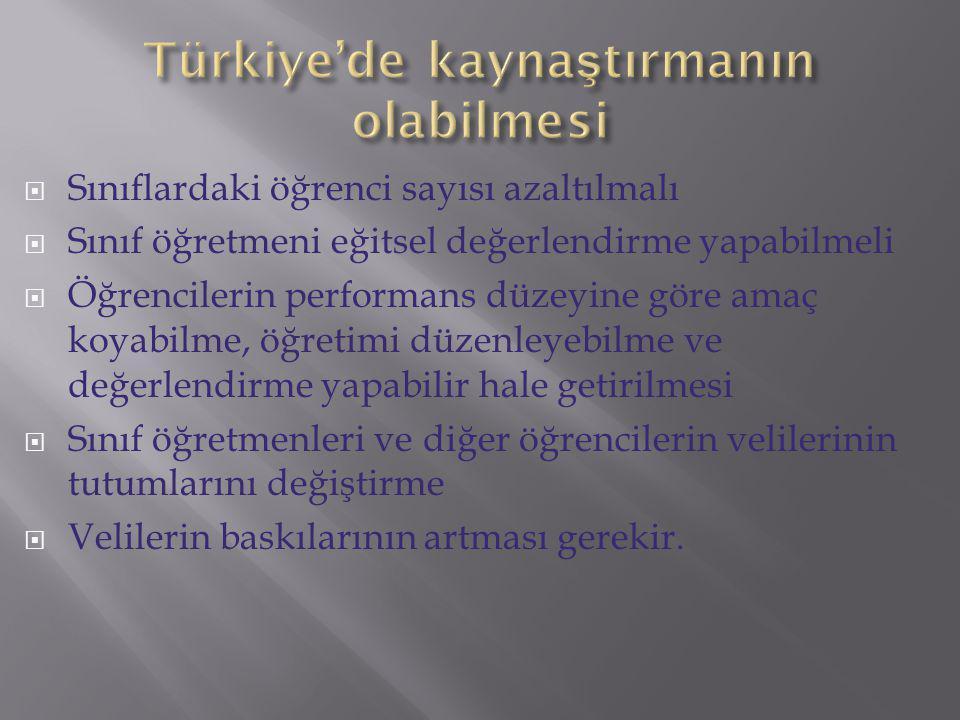 Türkiye'de kaynaştırmanın olabilmesi