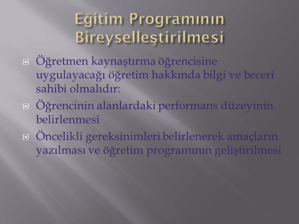 Eğitim Programının Bireyselleştirilmesi