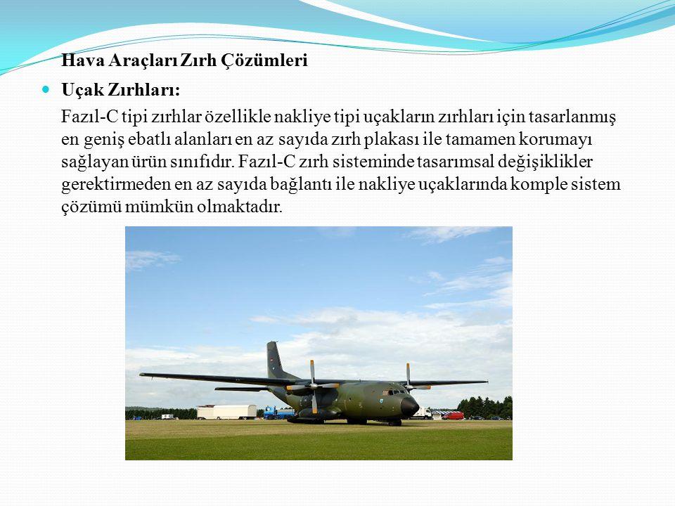 Hava Araçları Zırh Çözümleri