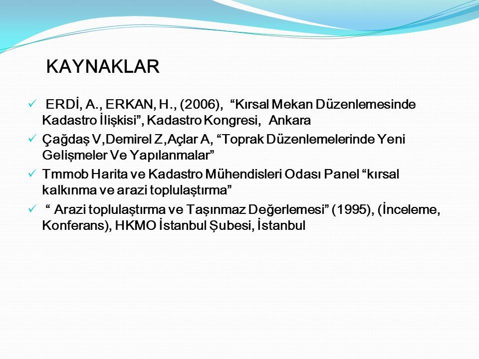 KAYNAKLAR ERDİ, A., ERKAN, H., (2006), Kırsal Mekan Düzenlemesinde Kadastro İlişkisi , Kadastro Kongresi, Ankara.