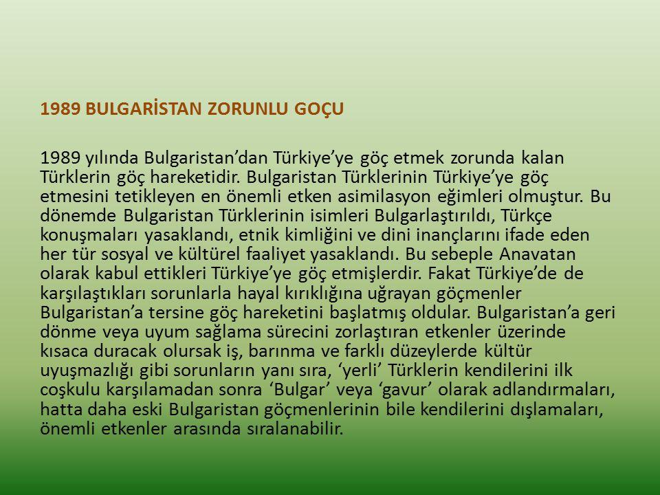 1989 BULGARİSTAN ZORUNLU GOÇU 1989 yılında Bulgaristan'dan Türkiye'ye göç etmek zorunda kalan Türklerin göç hareketidir.