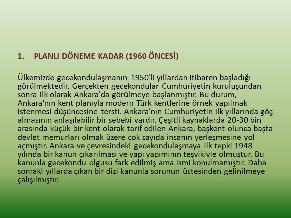 PLANLI DÖNEME KADAR (1960 ÖNCESİ)