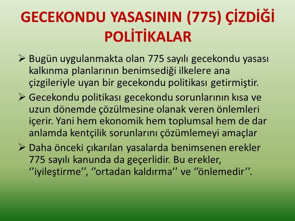 GECEKONDU YASASININ (775) ÇİZDİĞİ POLİTİKALAR