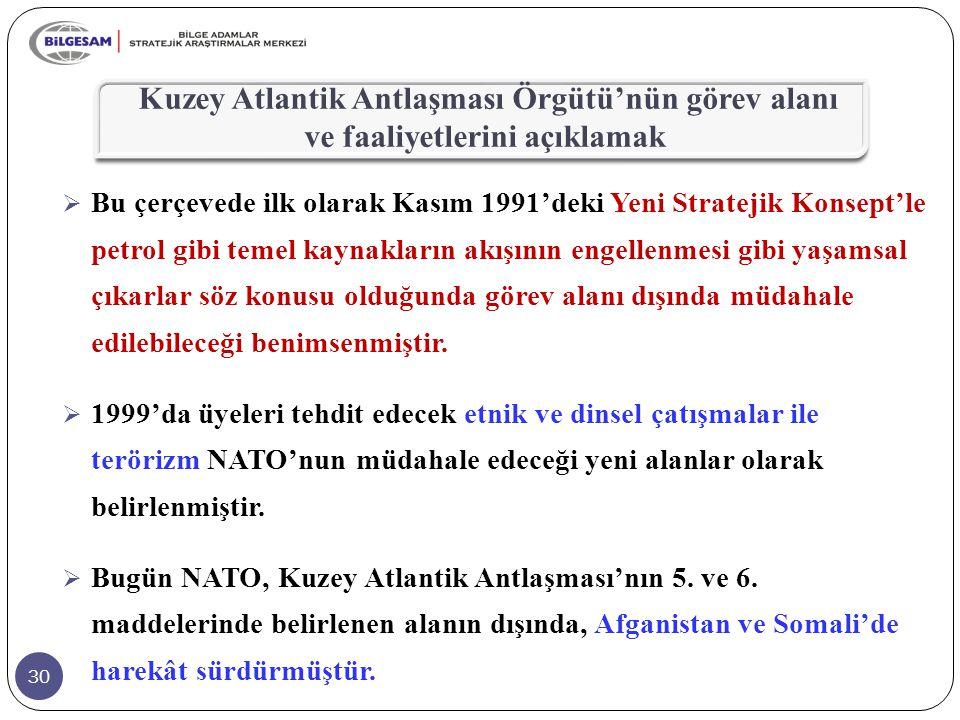 Kuzey Atlantik Antlaşması Örgütü'nün görev alanı ve faaliyetlerini açıklamak