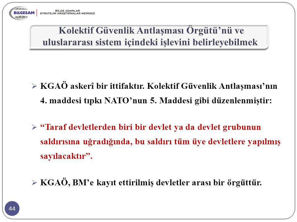 Kolektif Güvenlik Antlaşması Örgütü'nü ve uluslararası sistem içindeki işlevini belirleyebilmek