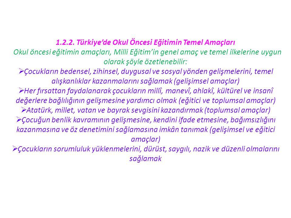 1.2.2. Türkiye'de Okul Öncesi Eğitimin Temel Amaçları