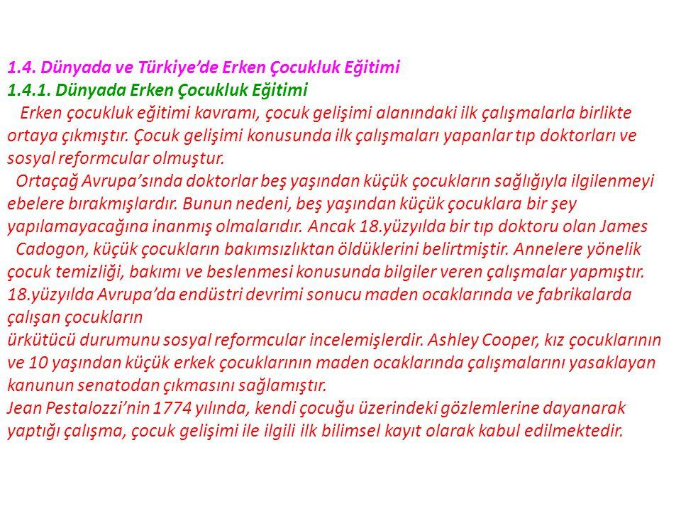 1.4. Dünyada ve Türkiye'de Erken Çocukluk Eğitimi