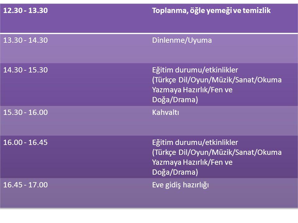 12.30 - 13.30 Toplanma, öğle yemeği ve temizlik. 13.30 - 14.30. Dinlenme/Uyuma. 14.30 - 15.30. Eğitim durumu/etkinlikler.