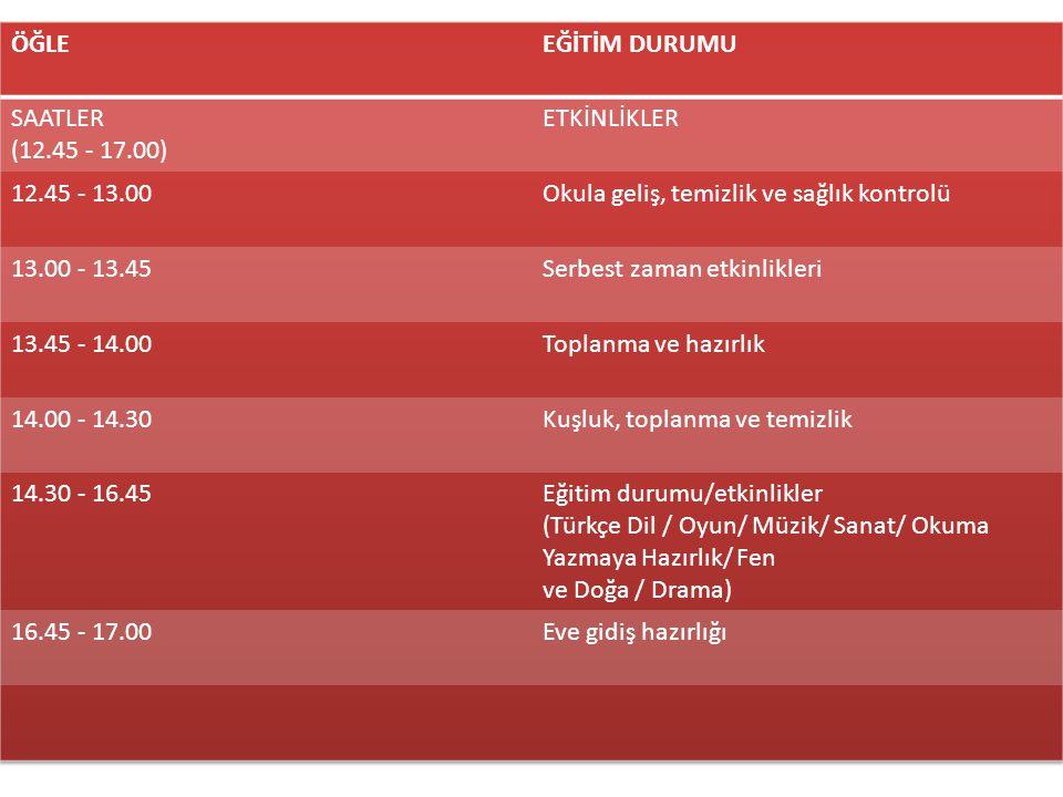 ÖĞLE EĞİTİM DURUMU. SAATLER. (12.45 - 17.00) ETKİNLİKLER. 12.45 - 13.00. Okula geliş, temizlik ve sağlık kontrolü.