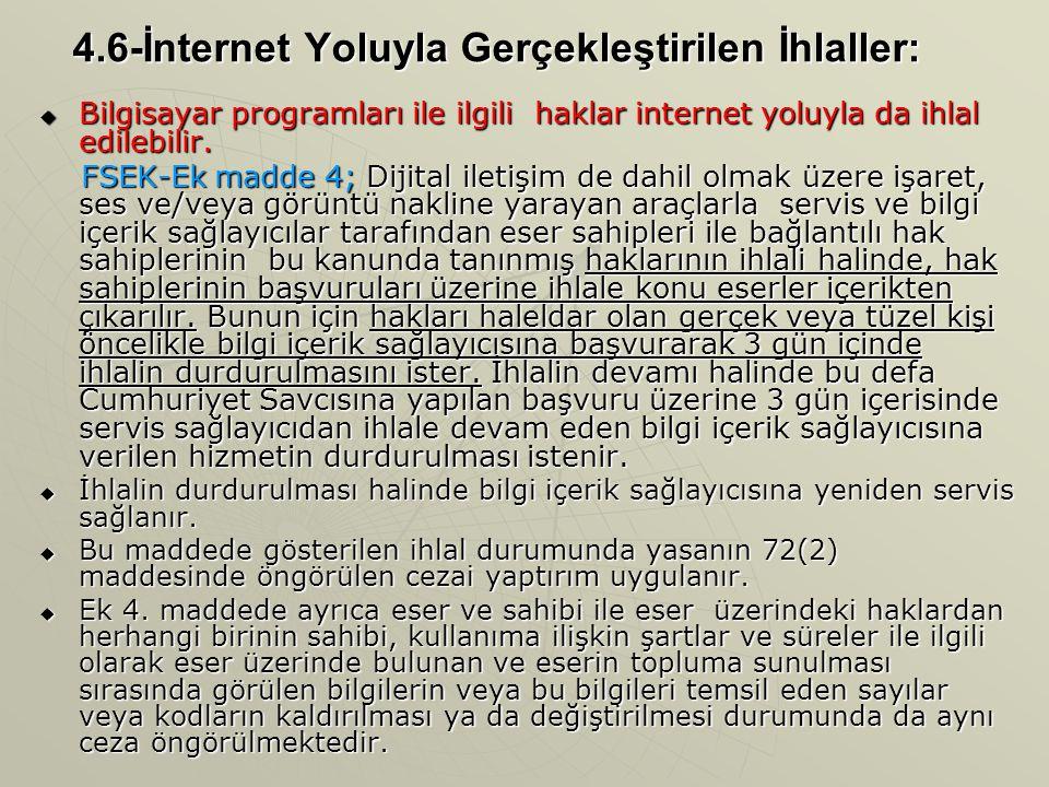 4.6-İnternet Yoluyla Gerçekleştirilen İhlaller: