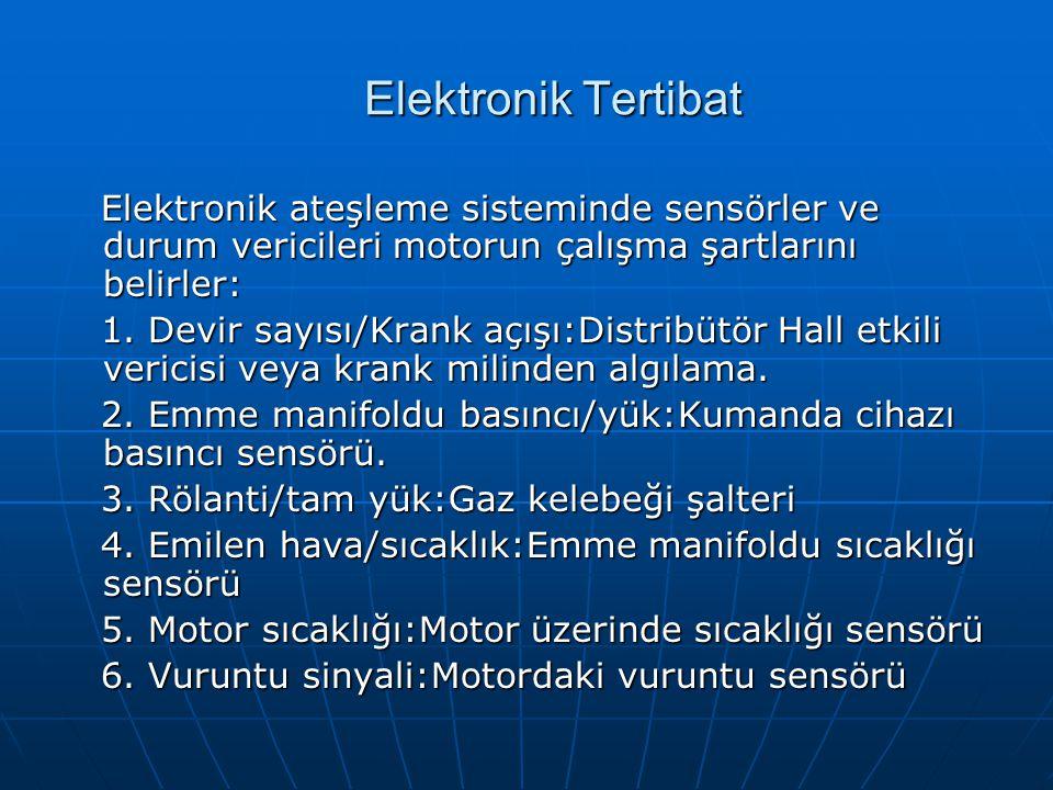 Elektronik Tertibat Elektronik ateşleme sisteminde sensörler ve durum vericileri motorun çalışma şartlarını belirler: