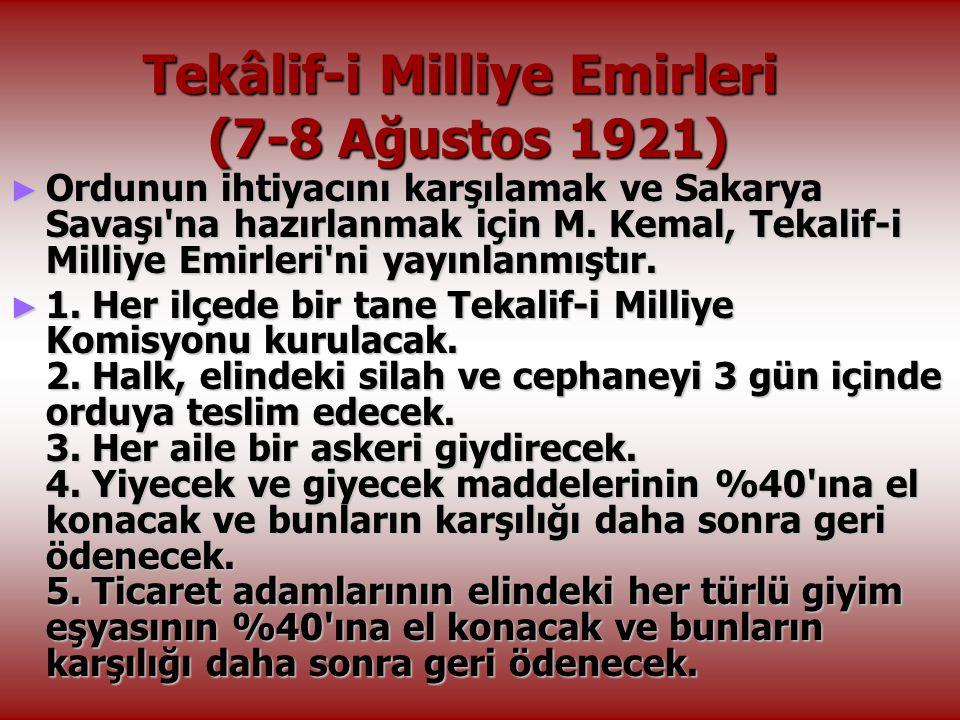 Tekâlif-i Milliye Emirleri (7-8 Ağustos 1921)