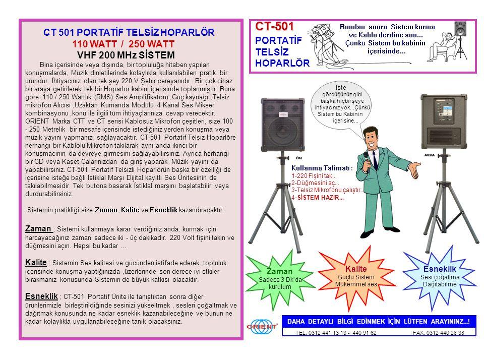 CT-501 CT 501 PORTATİF TELSİZ HOPARLÖR 110 WATT / 250 WATT PORTATİF