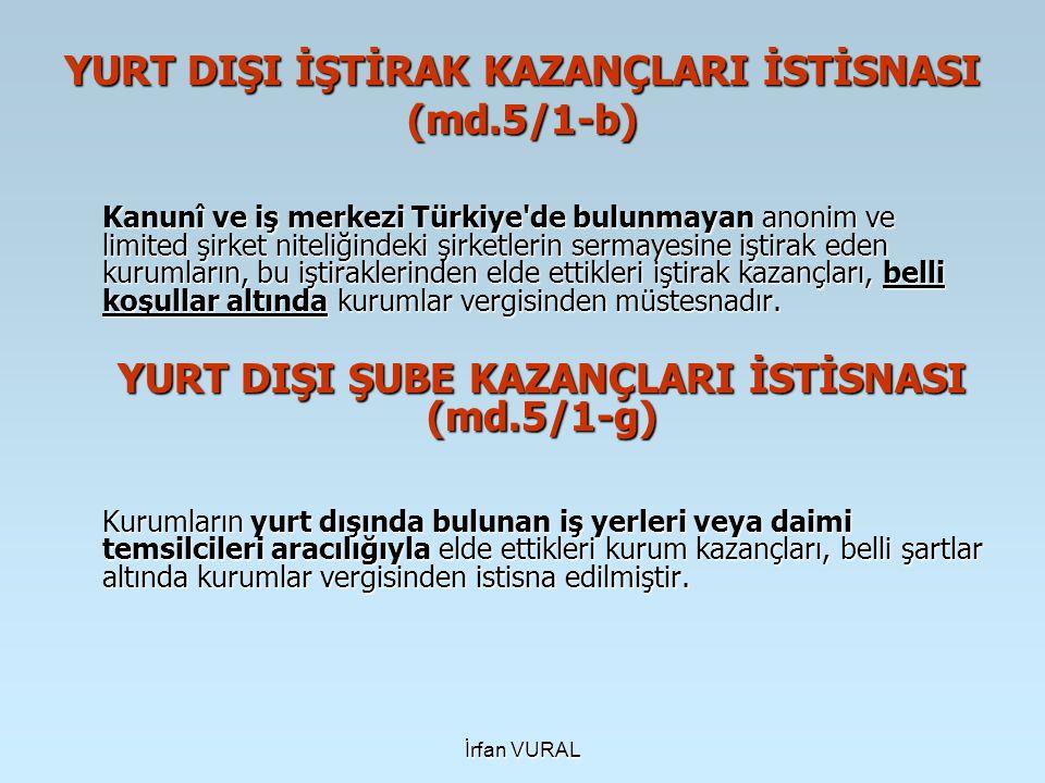 YURT DIŞI İŞTİRAK KAZANÇLARI İSTİSNASI (md.5/1-b)