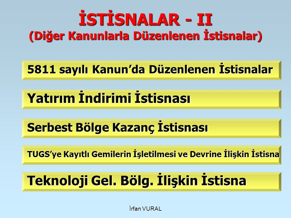 İSTİSNALAR - II (Diğer Kanunlarla Düzenlenen İstisnalar)