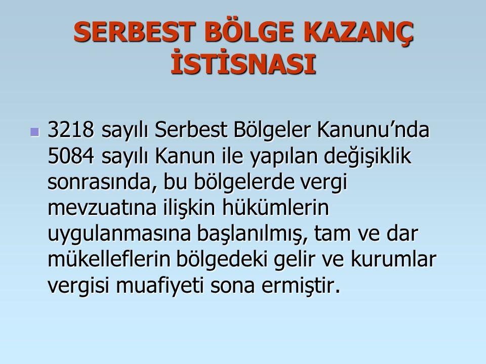 SERBEST BÖLGE KAZANÇ İSTİSNASI