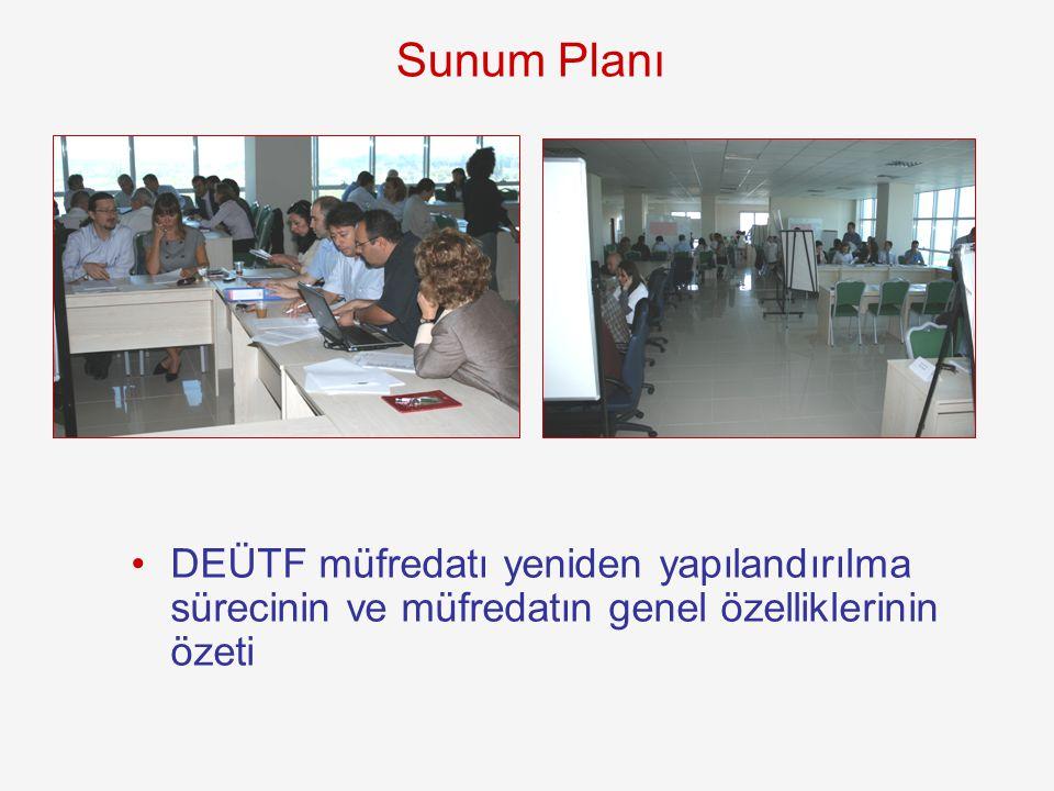 Sunum Planı DEÜTF müfredatı yeniden yapılandırılma sürecinin ve müfredatın genel özelliklerinin özeti.