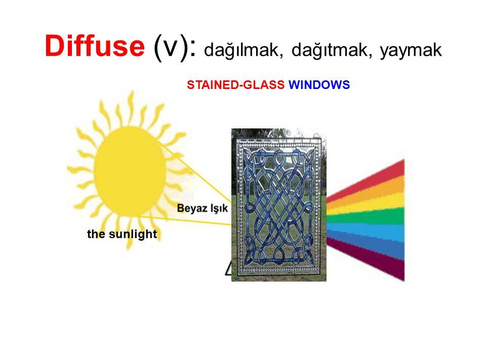 Diffuse (v): dağılmak, dağıtmak, yaymak
