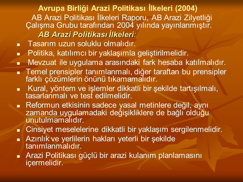 Avrupa Birliği Arazi Politikası İlkeleri (2004)