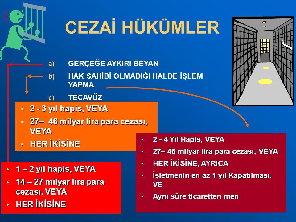 CEZAİ HÜKÜMLER 2 - 3 yıl hapis, VEYA