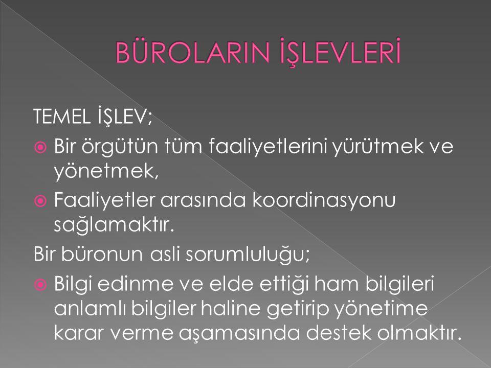 BÜROLARIN İŞLEVLERİ TEMEL İŞLEV;