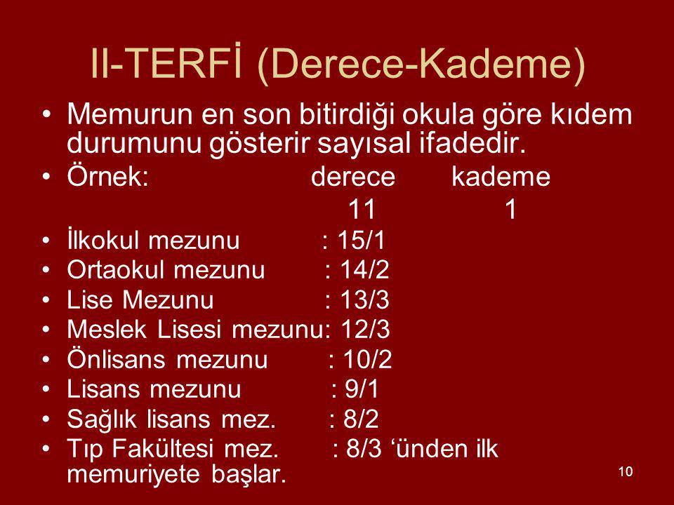 II-TERFİ (Derece-Kademe)