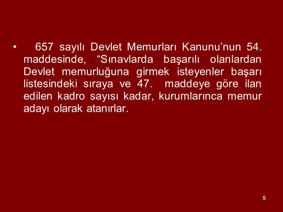 657 sayılı Devlet Memurları Kanunu'nun 54