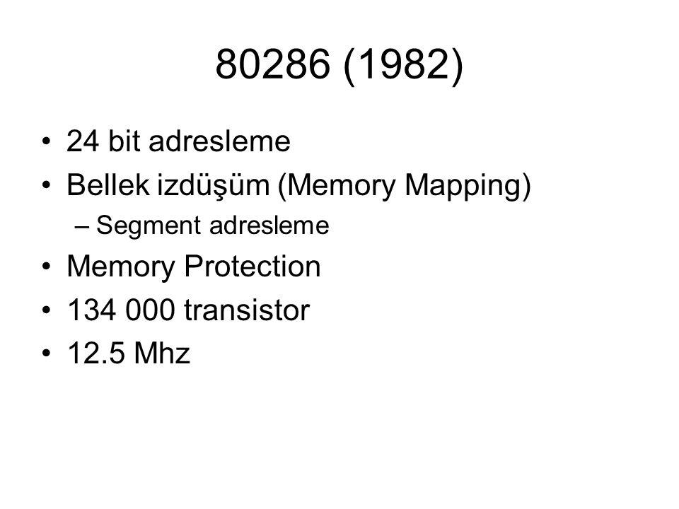 80286 (1982) 24 bit adresleme Bellek izdüşüm (Memory Mapping)