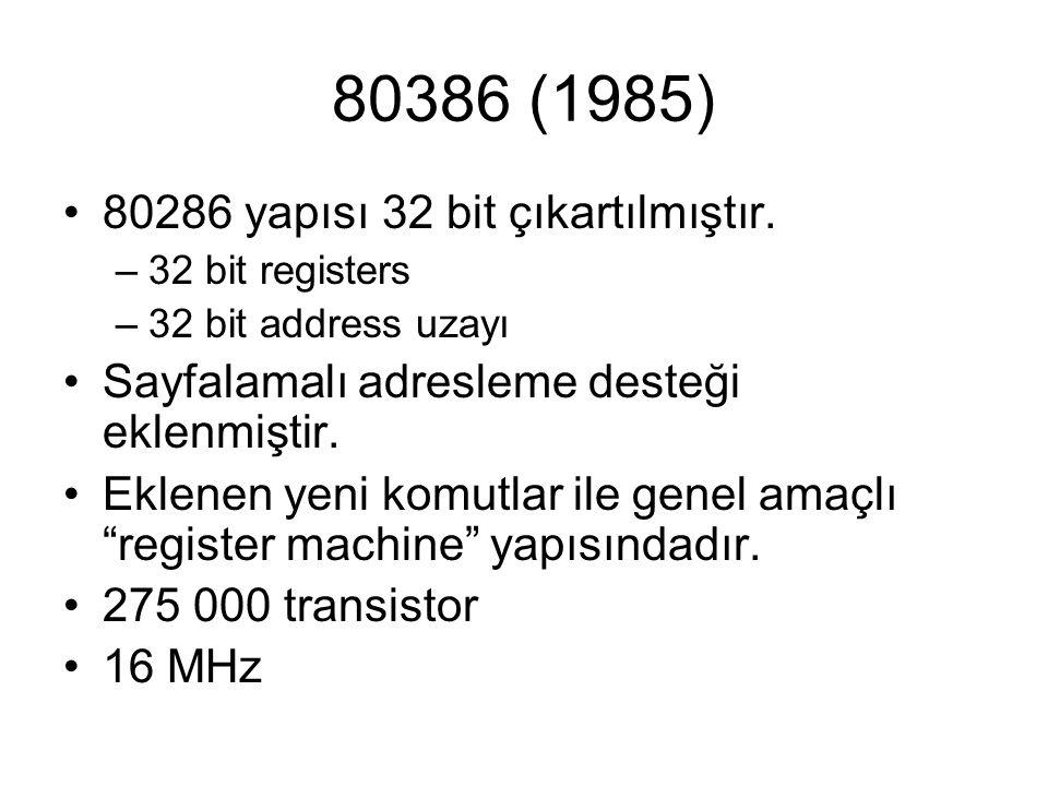 80386 (1985) 80286 yapısı 32 bit çıkartılmıştır.