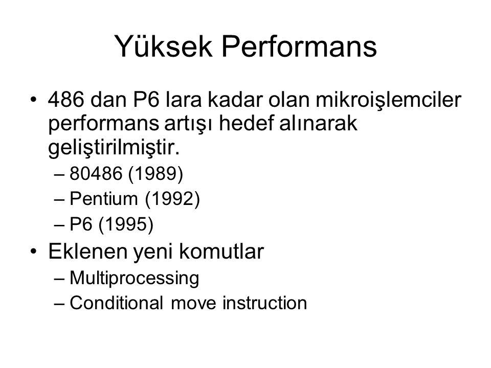 Yüksek Performans 486 dan P6 lara kadar olan mikroişlemciler performans artışı hedef alınarak geliştirilmiştir.