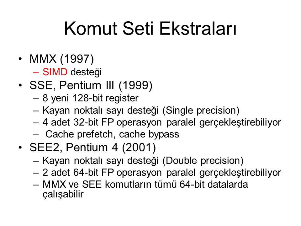Komut Seti Ekstraları MMX (1997) SSE, Pentium III (1999)