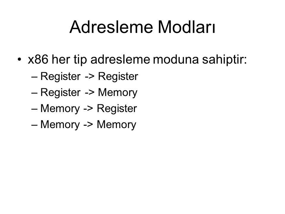 Adresleme Modları x86 her tip adresleme moduna sahiptir: