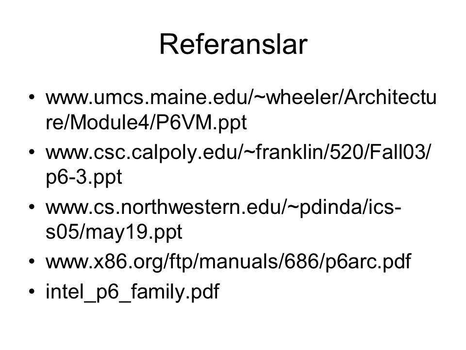 Referanslar www.umcs.maine.edu/~wheeler/Architecture/Module4/P6VM.ppt