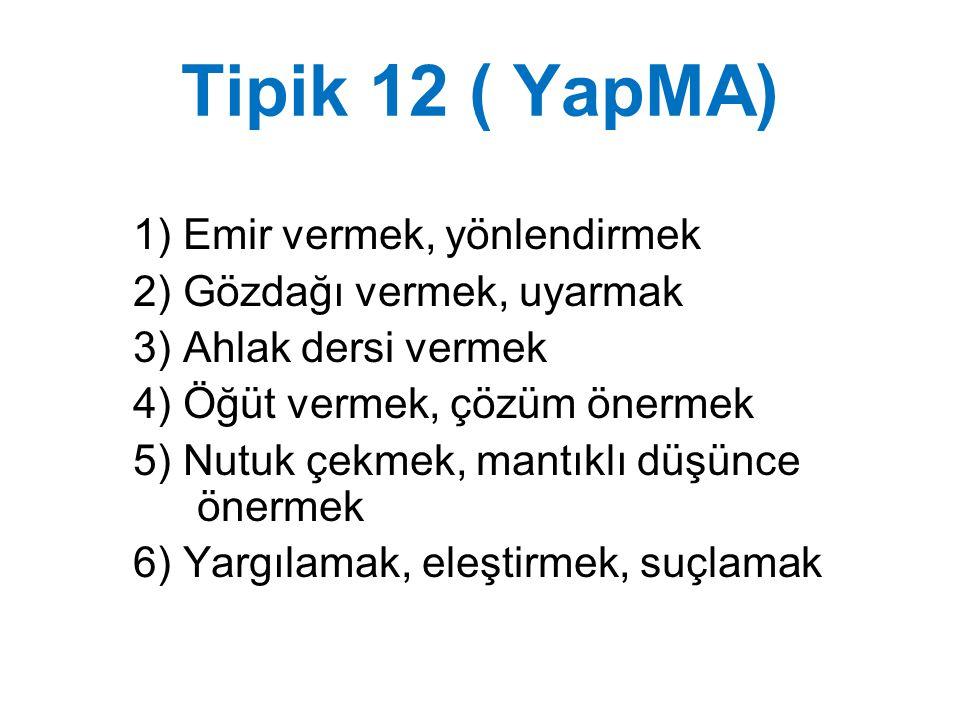 Tipik 12 ( YapMA) 1) Emir vermek, yönlendirmek