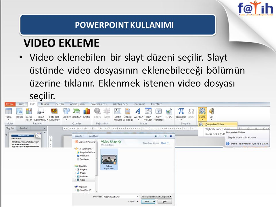 POWERPOINT KULLANIMI VIDEO EKLEME.