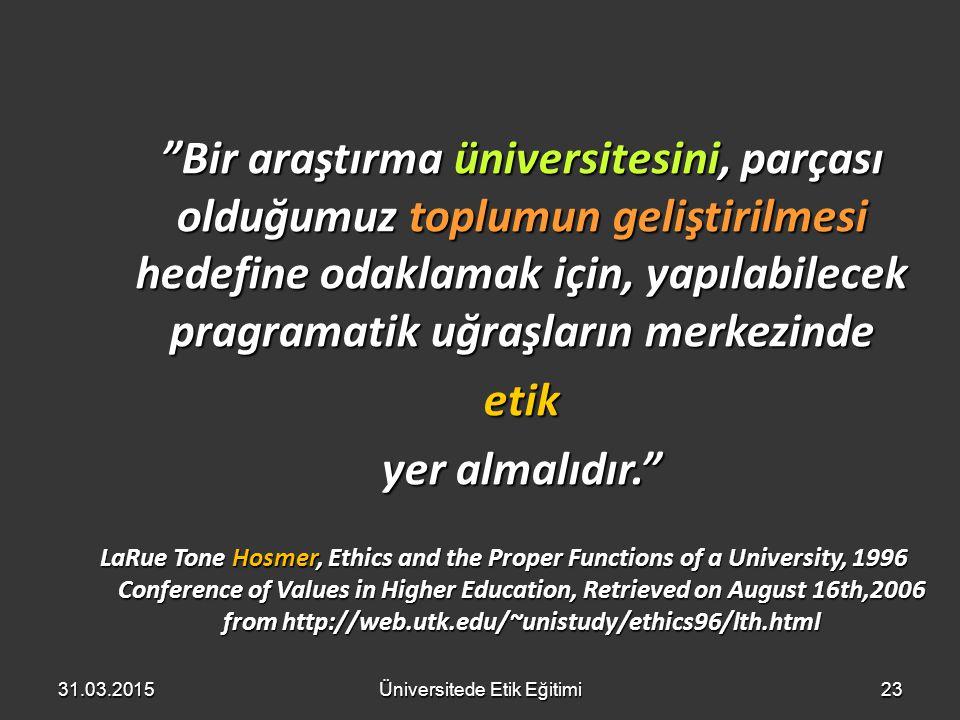 Üniversitede Etik Eğitimi