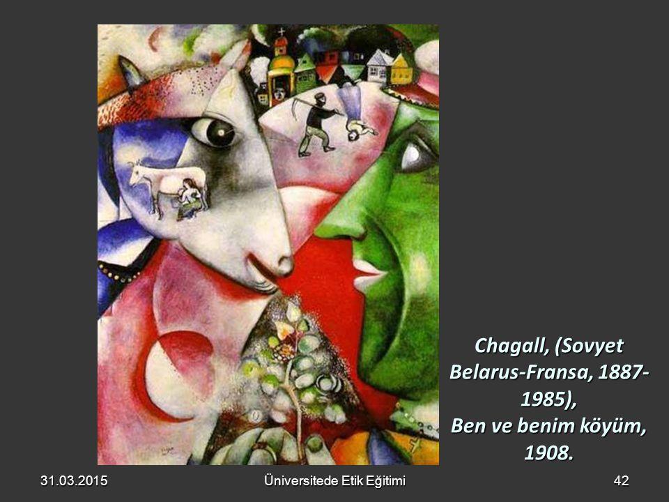 Chagall, (Sovyet Belarus-Fransa, 1887-1985), Ben ve benim köyüm, 1908.