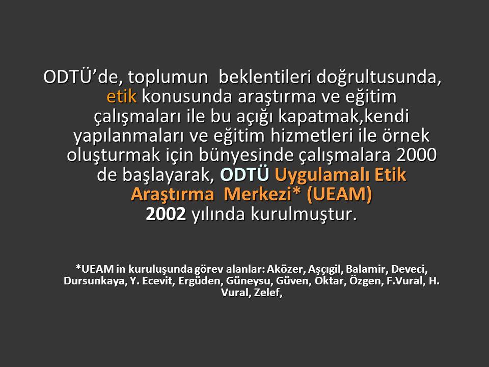ODTÜ'de, toplumun beklentileri doğrultusunda, etik konusunda araştırma ve eğitim çalışmaları ile bu açığı kapatmak,kendi yapılanmaları ve eğitim hizmetleri ile örnek oluşturmak için bünyesinde çalışmalara 2000 de başlayarak, ODTÜ Uygulamalı Etik Araştırma Merkezi* (UEAM) 2002 yılında kurulmuştur.