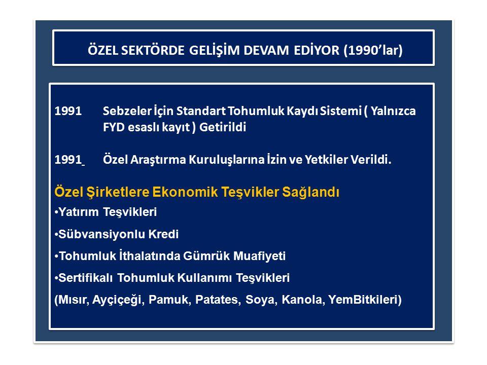 ÖZEL SEKTÖRDE GELİŞİM DEVAM EDİYOR (1990'lar)