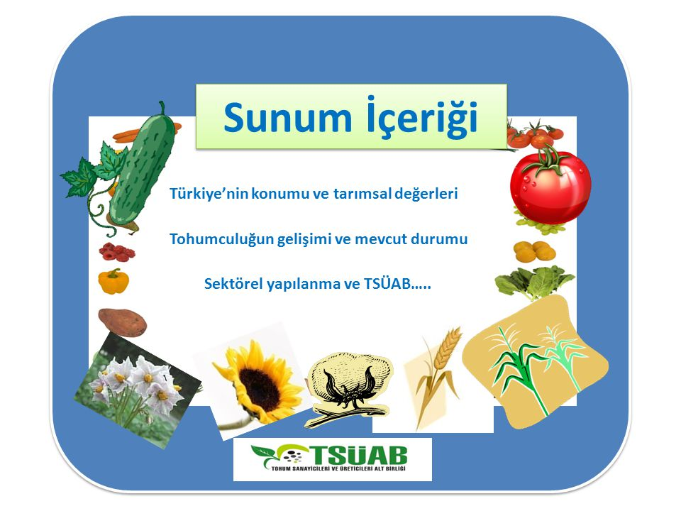 Sunum İçeriği Türkiye'nin konumu ve tarımsal değerleri